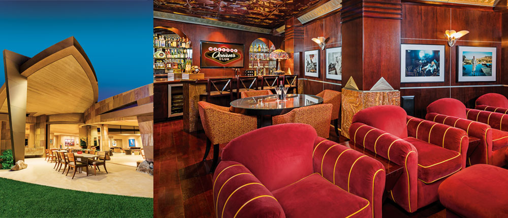 Ocean's Bar is modeled after the Art Deco-style pub Claridge's in London with seating for four, a game table for six, oversized club chairs with matching ottoman, and six flat-screen televisions with surround-sound