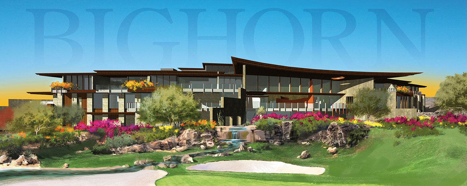 Rendering of the new Clubhouse at BIGHORN